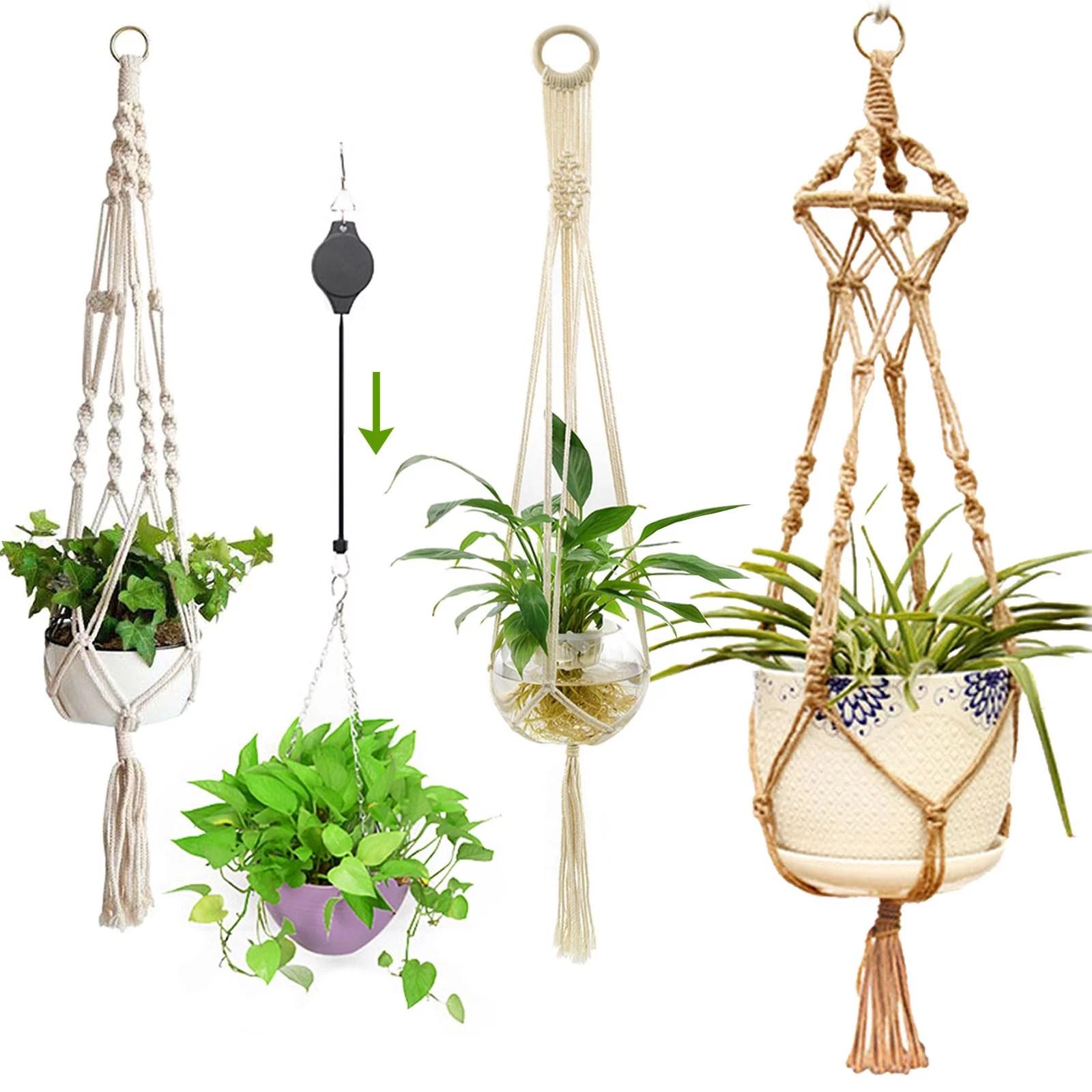 EEEKit 2/1Pcs Macrame Plant Hanger, Indoor Outdoor Hanging ... on Plant Stand Hanging  id=79593