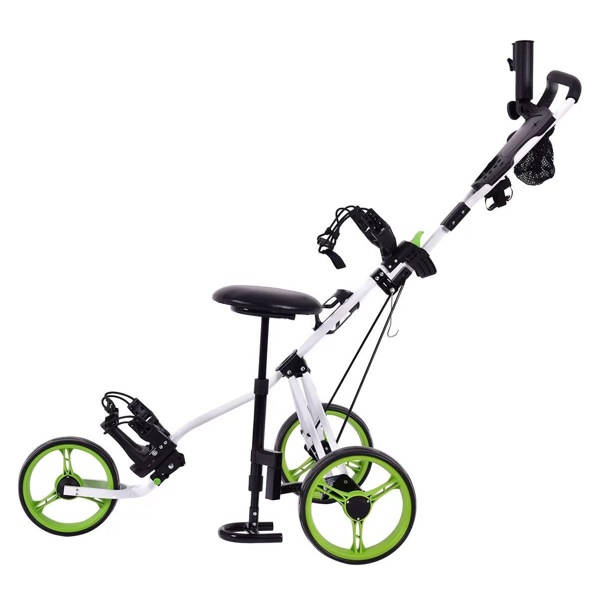 Golf Club Cart Trolley W Seat Scoreboard Bag Swivel