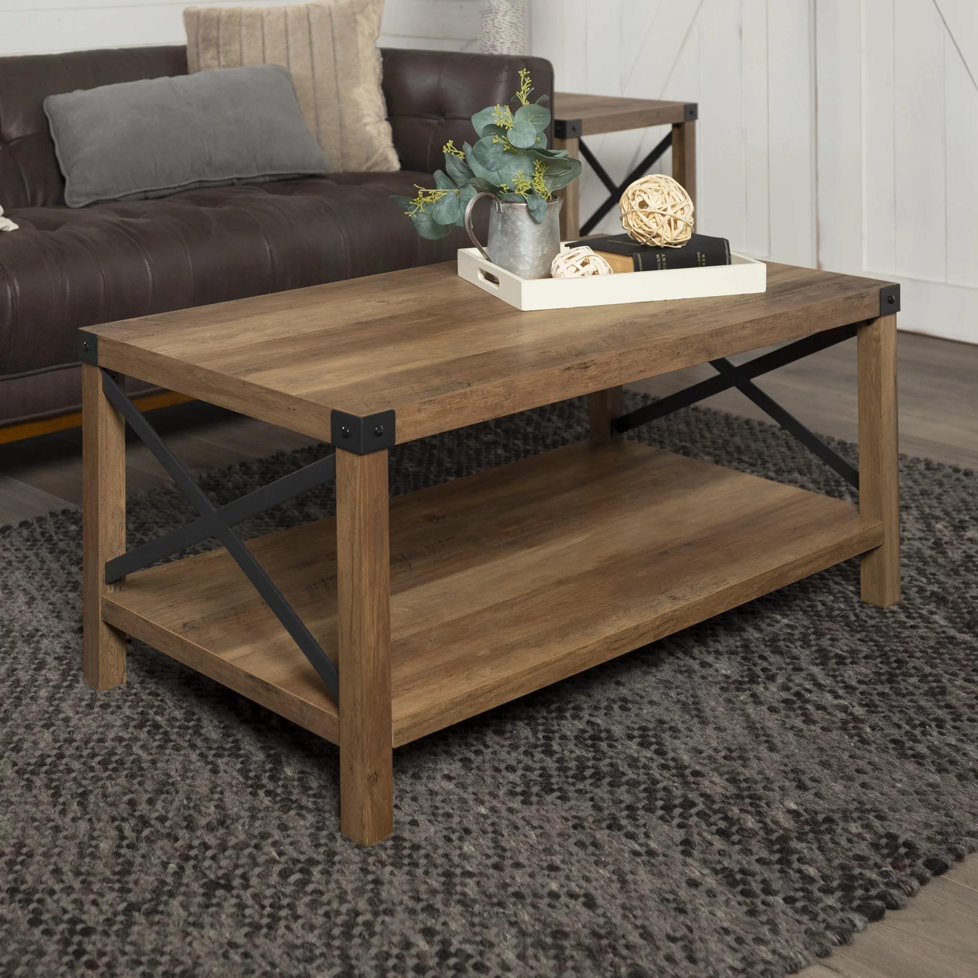 magnolia metal x frame reclaimed barnwood coffee table by desert fields