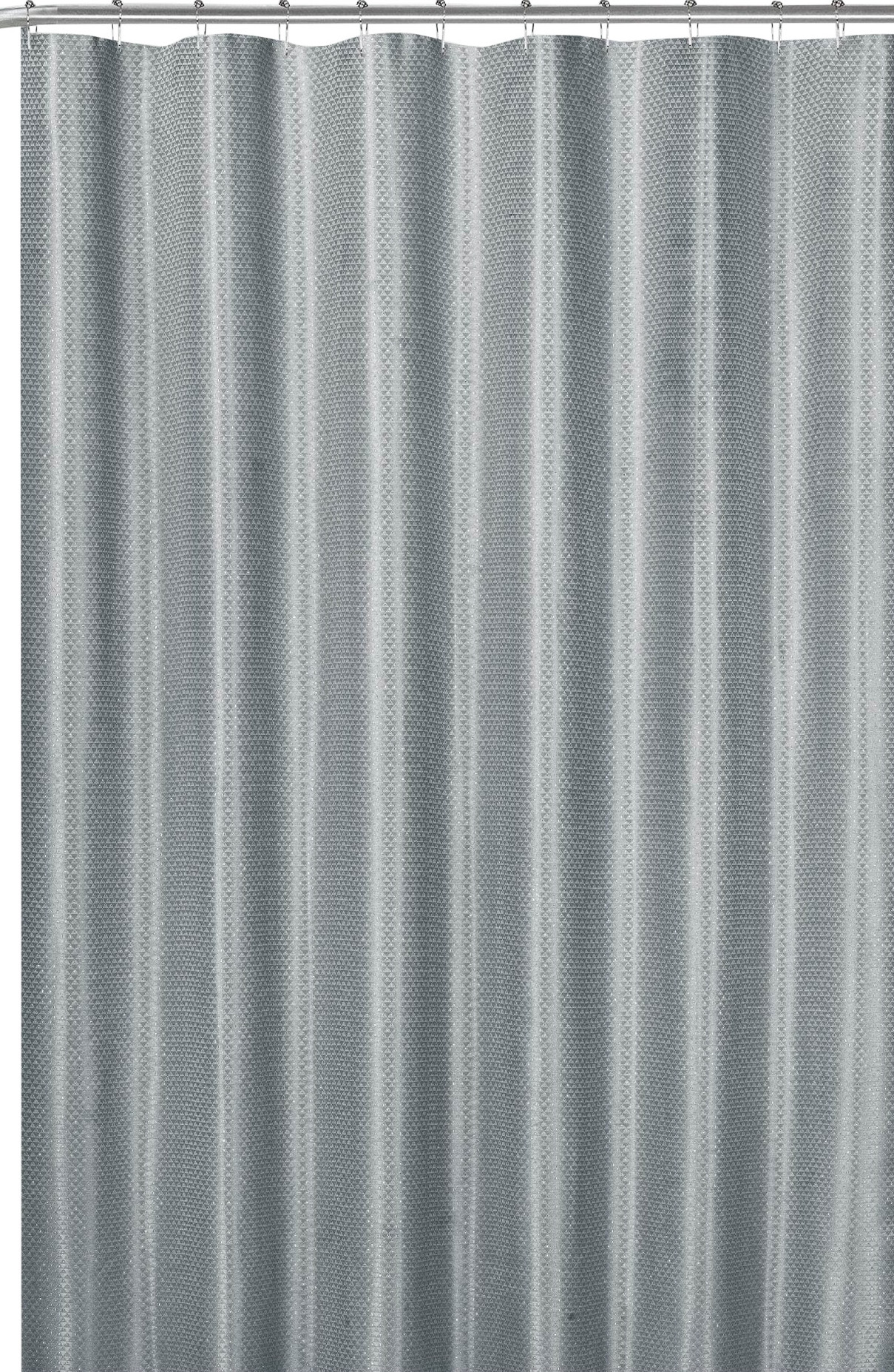 gray fabric shower curtain modern geometric with silver metallic accent