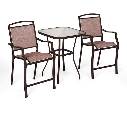 mainstays sand dune 3 piece outdoor bar height bistro set for patio and porch tan