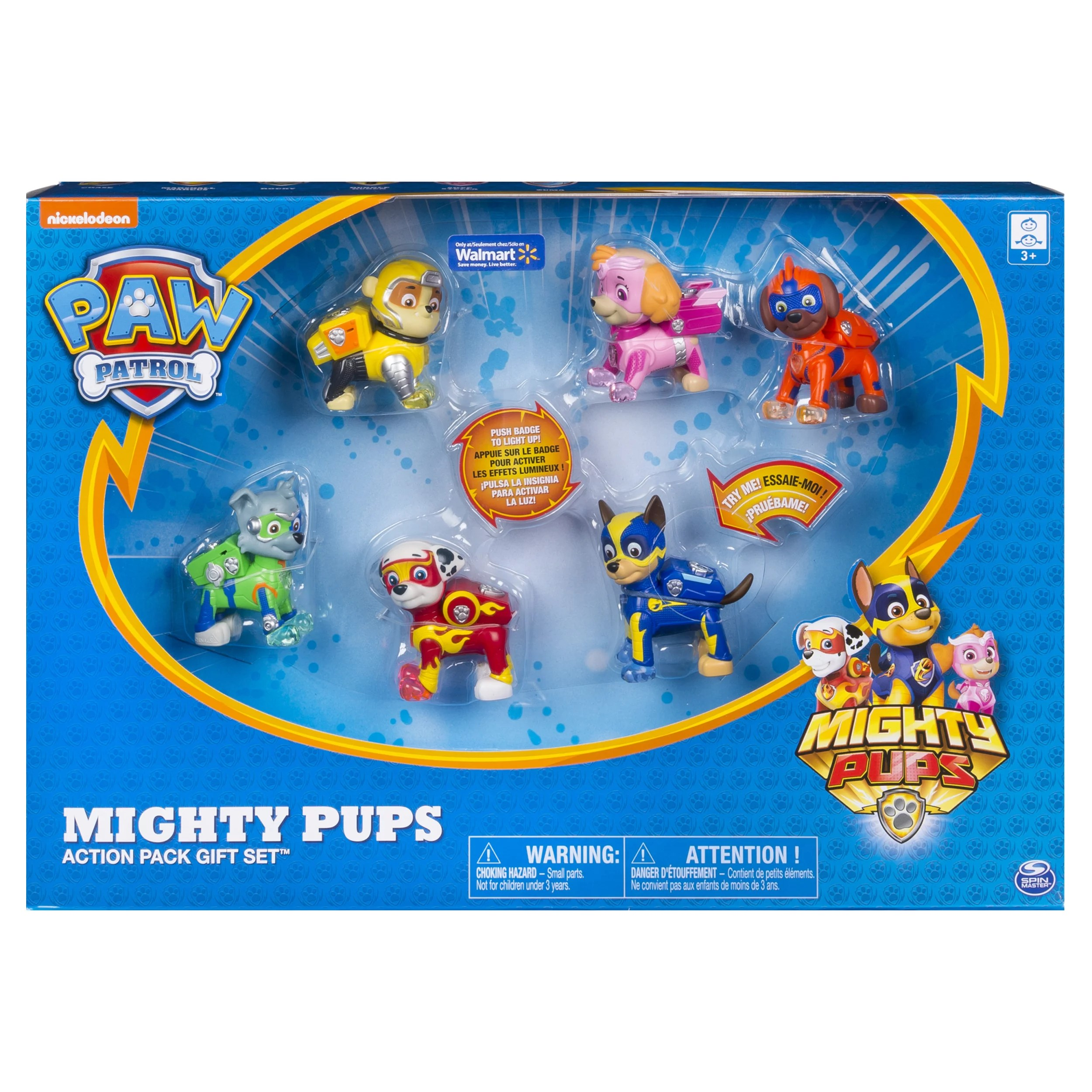 Paw Patrol Mighty Pups 6 Pack Gift Set Paw Patrol Figures With Light Up Badges And Paws Wal Mart Exclusive For Ages 3 And Up Walmart Com Walmart Com