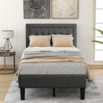 Twin Platform Bed Frame Heavy Duty Wood Twin Bed Frame With Headboard Upholstered Twin Bed Frame No Box Spring Needed Modern Bedroom Furniture Twin Bed Frames For Kids Adults Gray W11823 Walmart Com