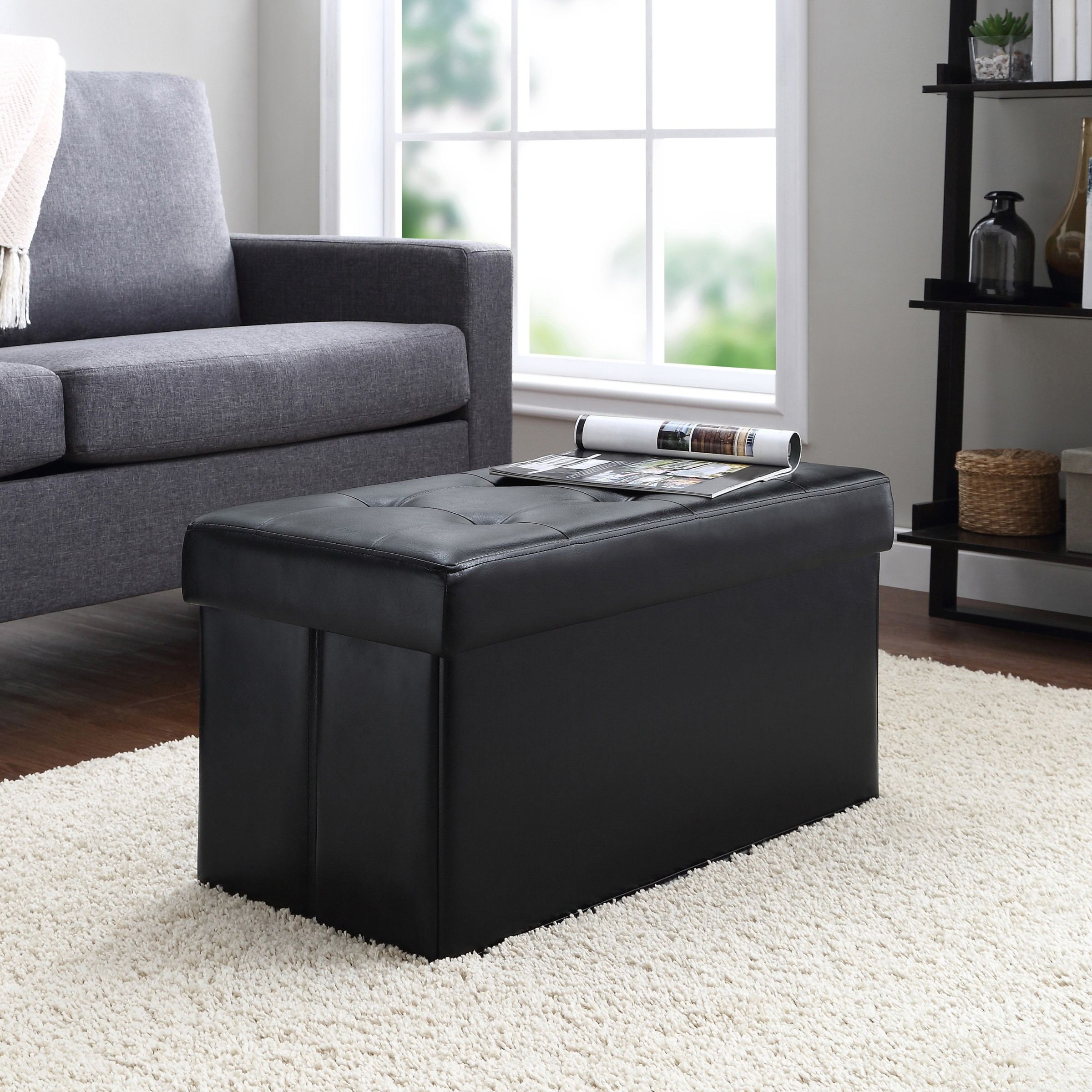 mainstays collapsible storage ottoman quilted black faux leather walmart com