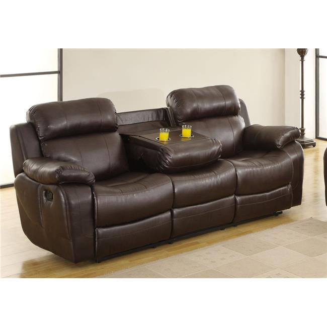 benzara bm181799 leather reclining three seater sofa with center drop down cup holder brown 39 5 x 38 5 x 88 in