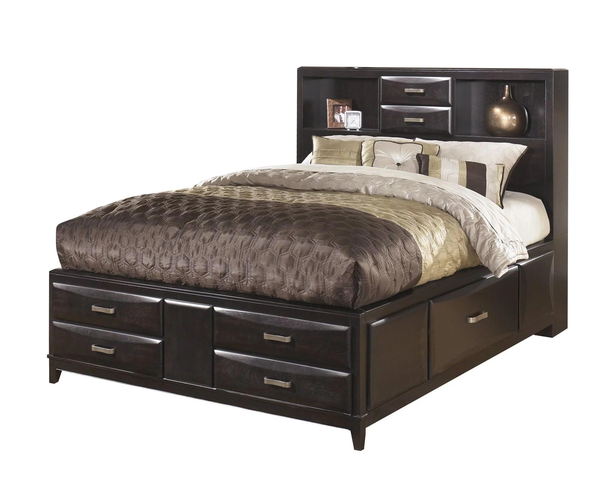 ashley furniture kira e king storage bed black
