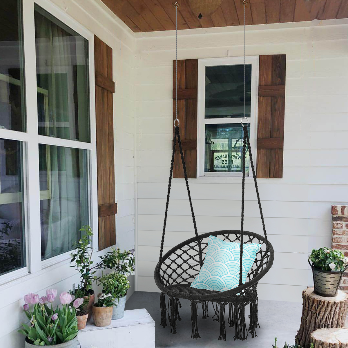 Hammock Chair Macrame Swing Handmade Knitted Hanging Cotton Rope Chair For Indoor Outdoor Home Patio Deck Yard Garden Reading Leisure White Black Walmart Com Walmart Com