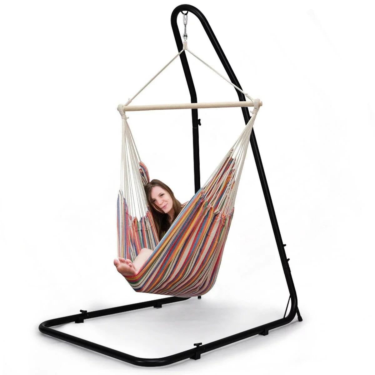 costway support hamac en fer support reglable pour fauteuil suspendu soutien pour accrocher balancelle et chaises suspendues capacite 150kg
