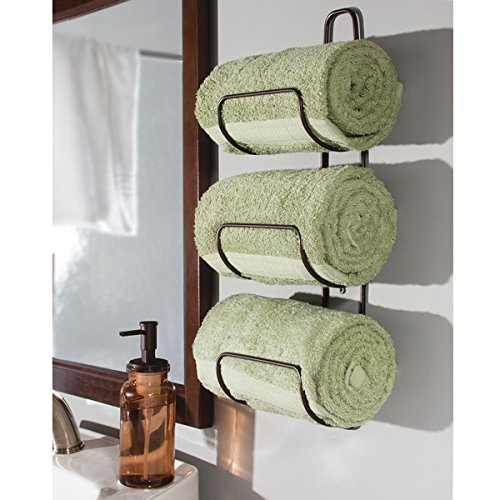 mdesign wall mount or over door bathroom towel holder bar bronze