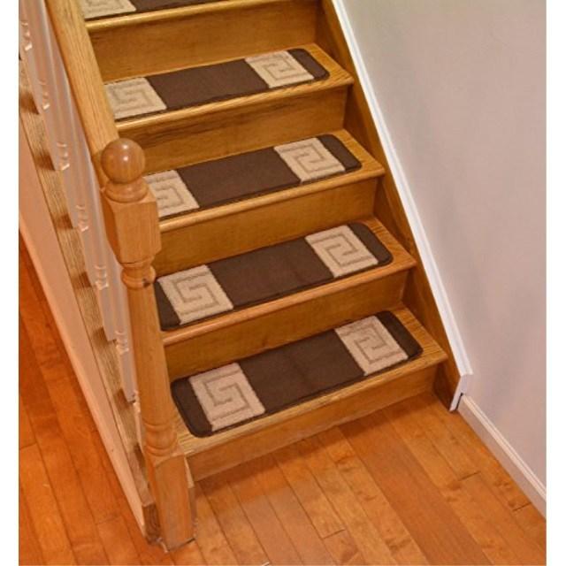 Millenium Stair Tread Treads Greek Key Design Indoor Skid Slip | 8 Inch Carpet Stair Treads | Bullnose Carpet | Wood Stairs | Rubber Backing | Mat | Non Slip Stair