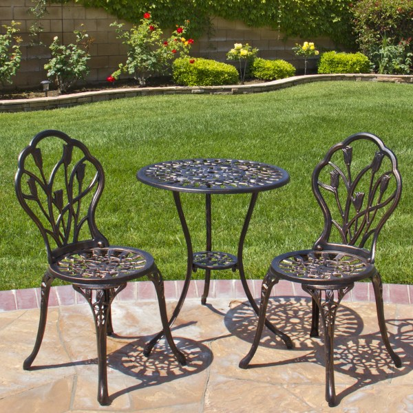 Best Choice Products Cast Aluminum Patio Bistro Furniture Set in     Best Choice Products Cast Aluminum Patio Bistro Furniture Set in Antique  Copper   Walmart com