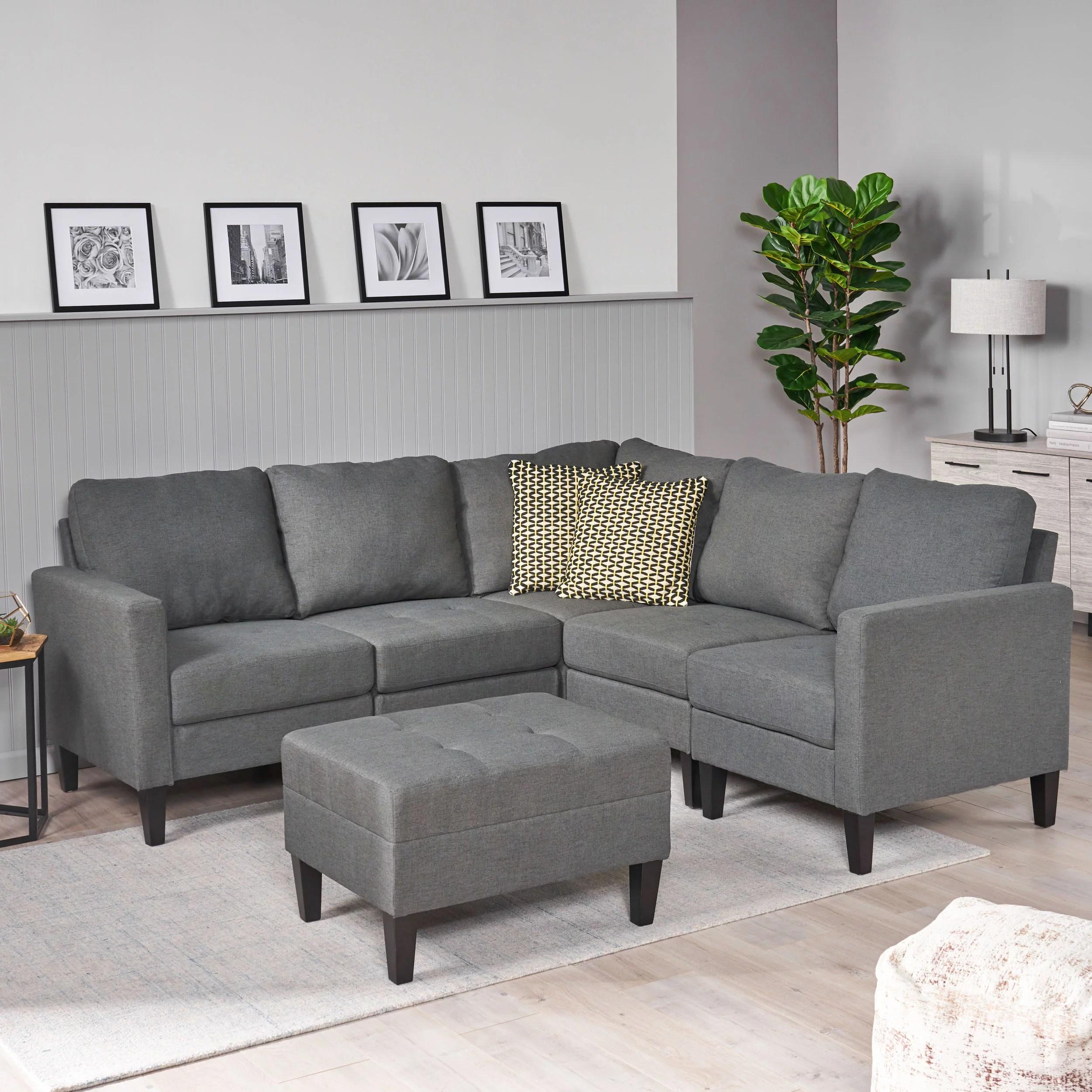 modernluxe symmetrical sectional sofa with ottoman