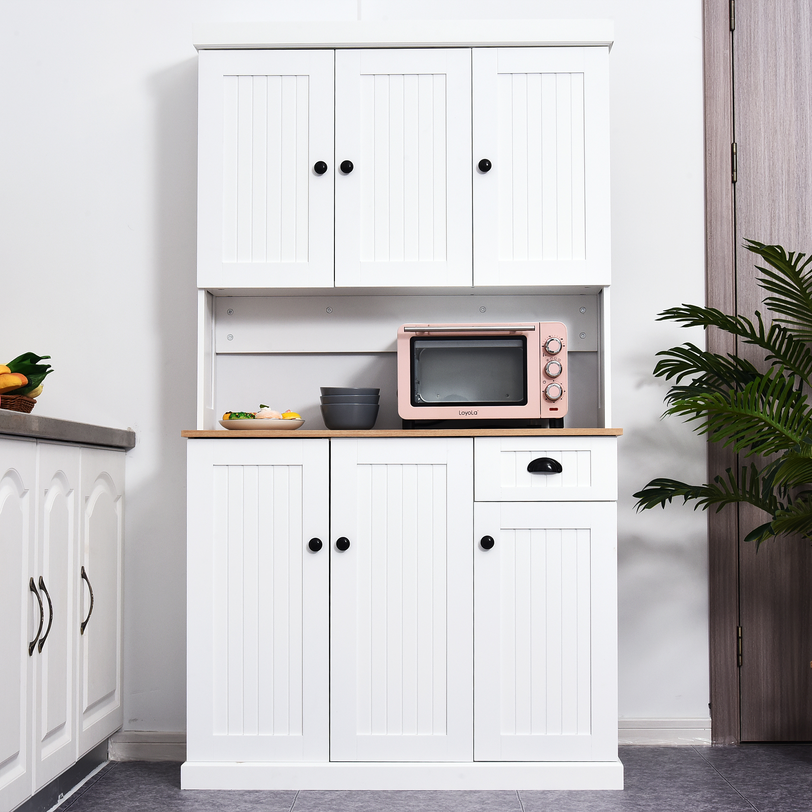homcom 71 wood kitchen pantry microwave oven stand storage cabinet with storage white oak grain
