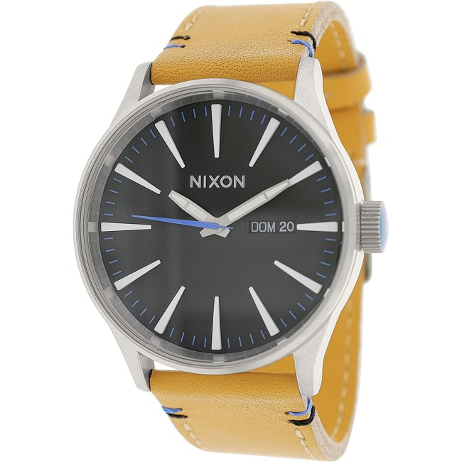 Nixon Men's Sentry Leather A1051602 Beige Leather Quartz Fashion Watch