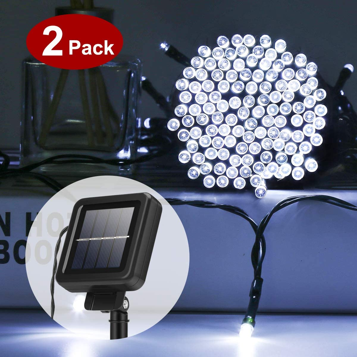 yunni solar outdoor string lights 2 pack 200 led 72ft patio decorative lighting waterproof solar powered christmas lights for