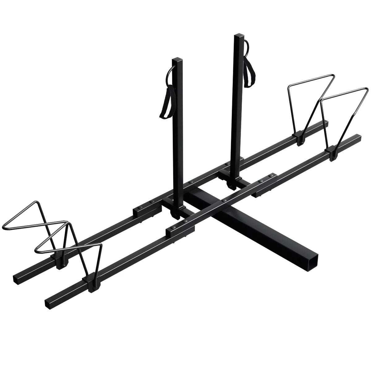 costway upright heavy duty 2 bike bicycle hitch mount carrier platform rack truck suv