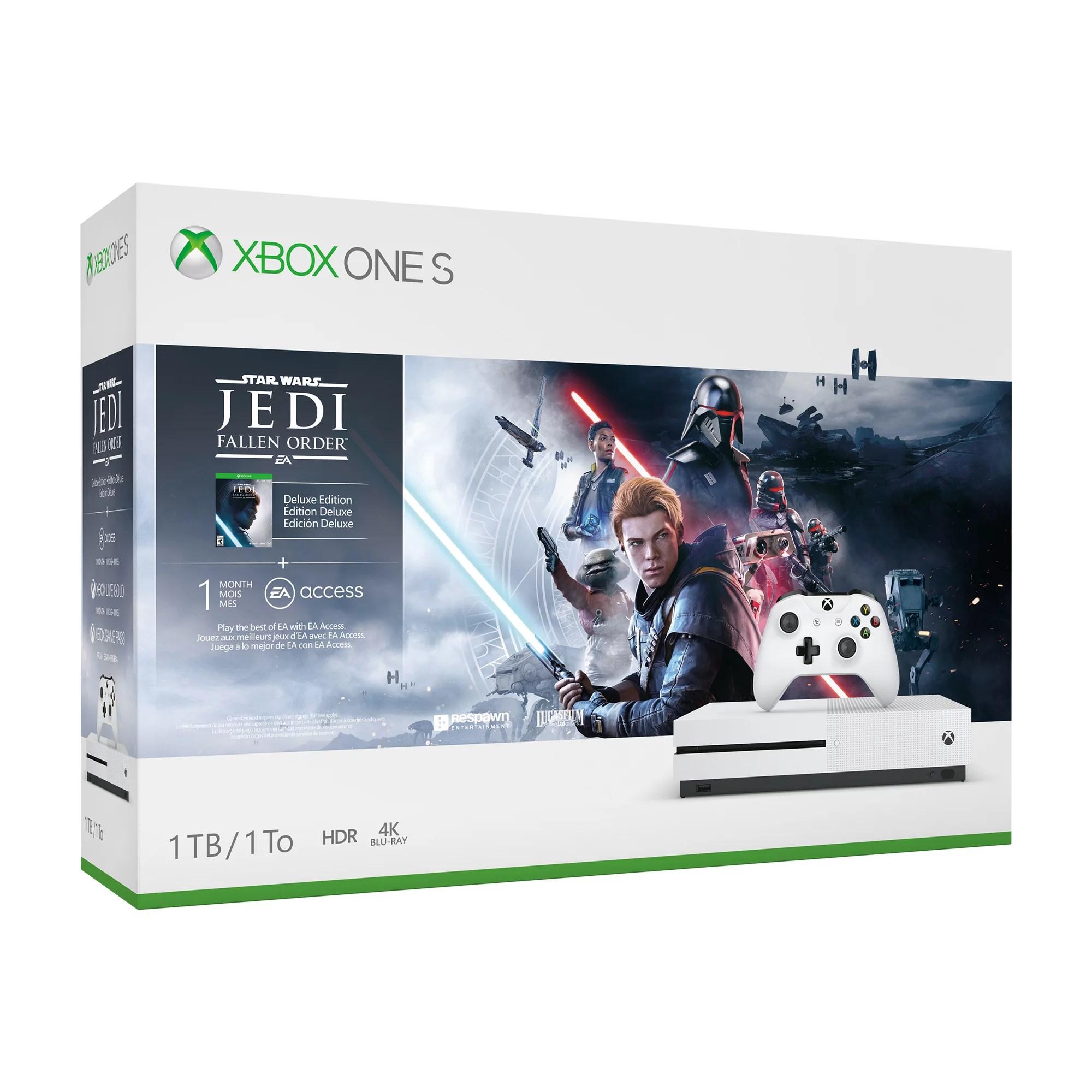 Microsoft Xbox One S 1TB Star Wars Jedi: Fallen Order Console Bundle, White, 234-01089