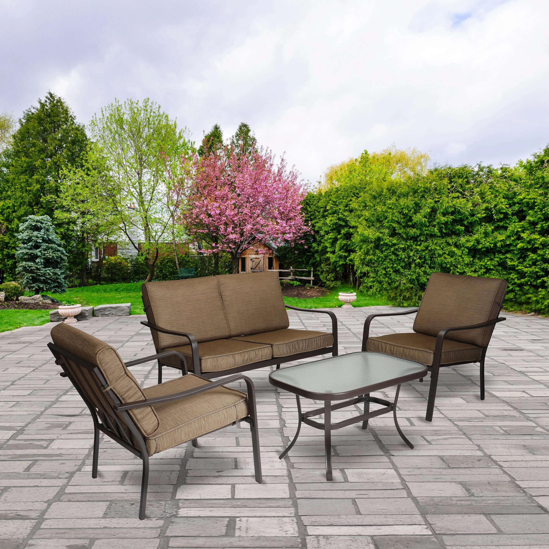 mainstays stanton 4 piece patio furniture conversation set brown metal