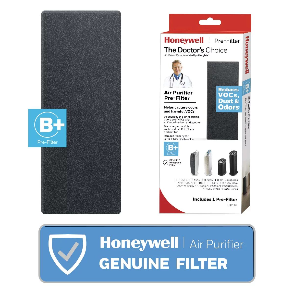 Honeywell Premium Household Gas & Odor Reducing Pre-Filter B, 1 Pack