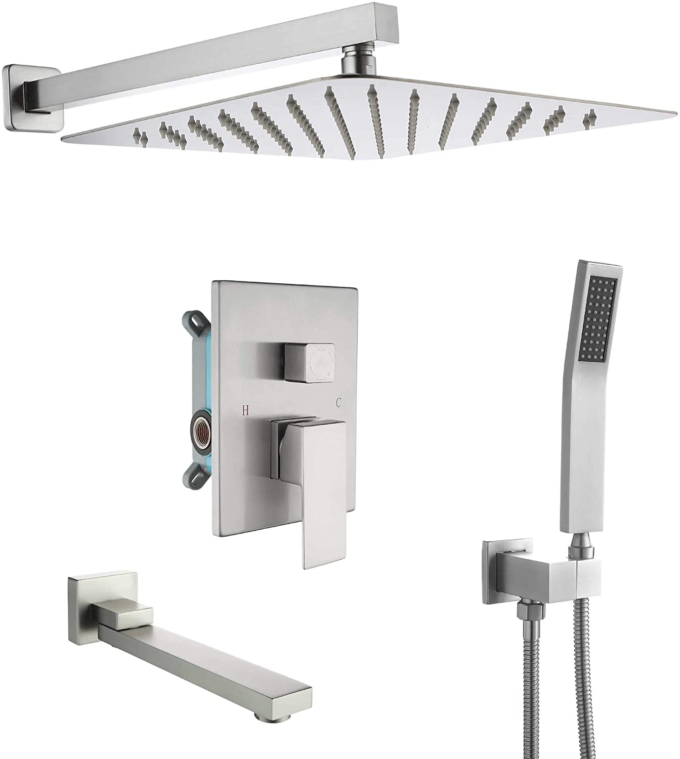 dobrass tub shower faucets set complete with pre embedded valve 10 inch square waterfall shower head system with handheld shower and tub spout