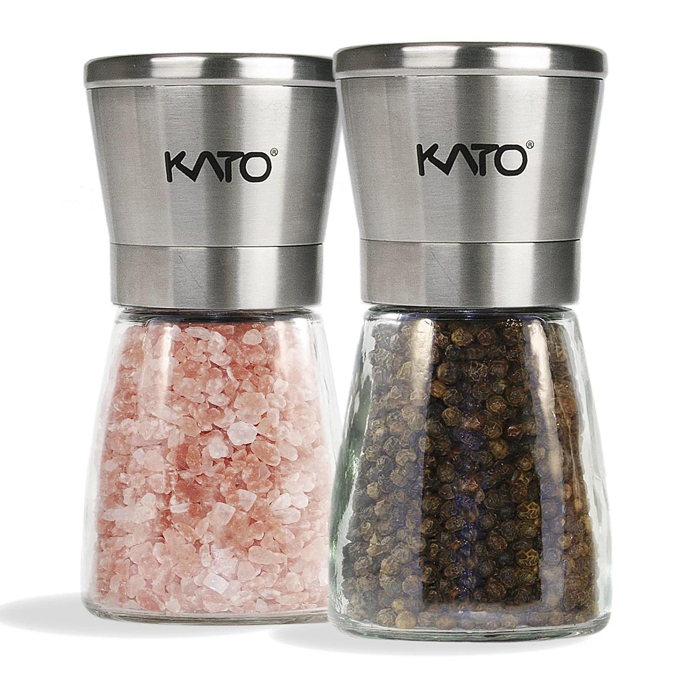 Kato Manual Salt And Pepper Grinder Set Stainless Steel Top Glass Body Ceramic Pepper Mills For Himalayan Salt Pepper And Spices 2 Pack Walmart Com Walmart Com