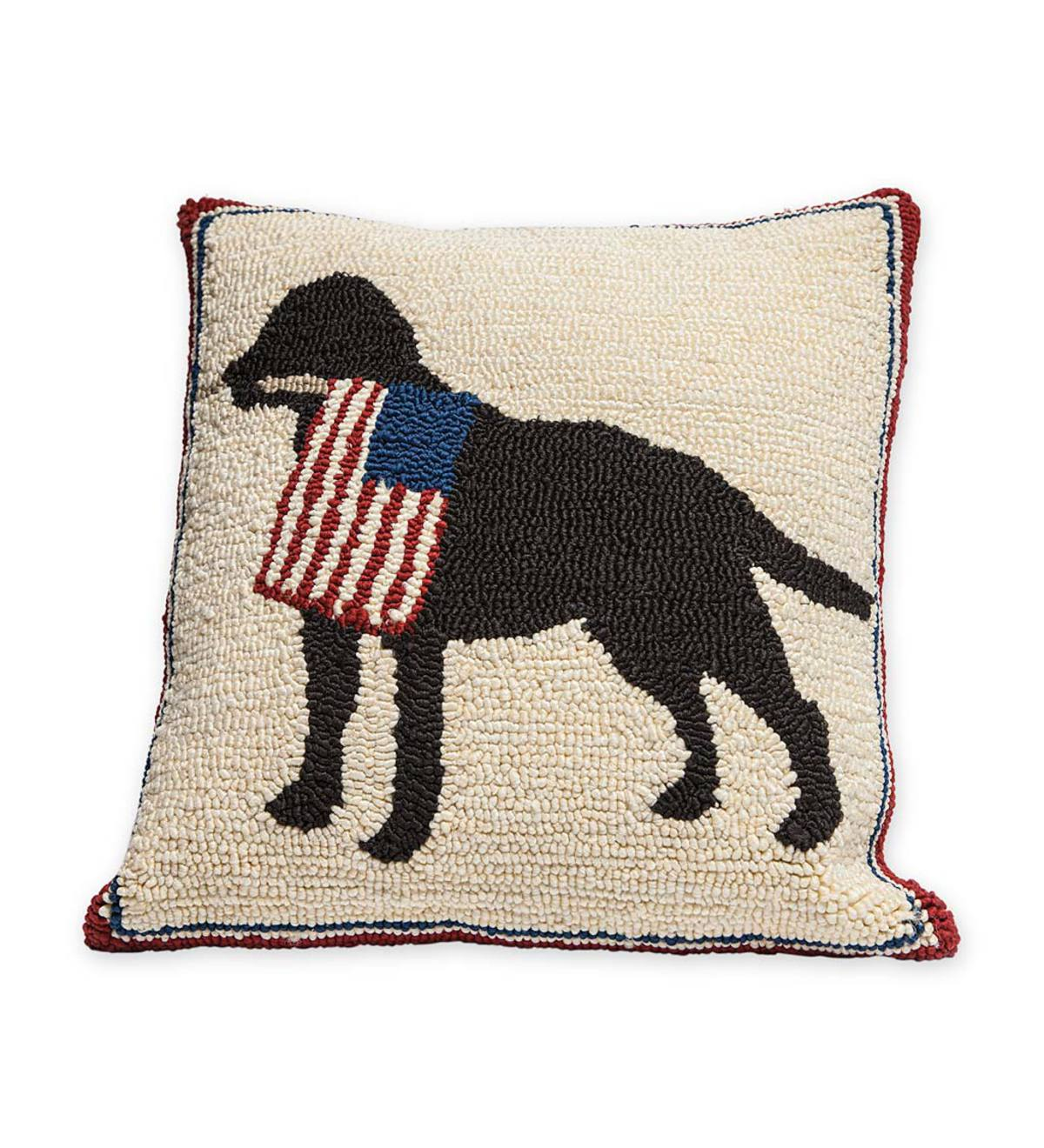 patriotic dog holding american flag decorative indoor outdoor throw pillow