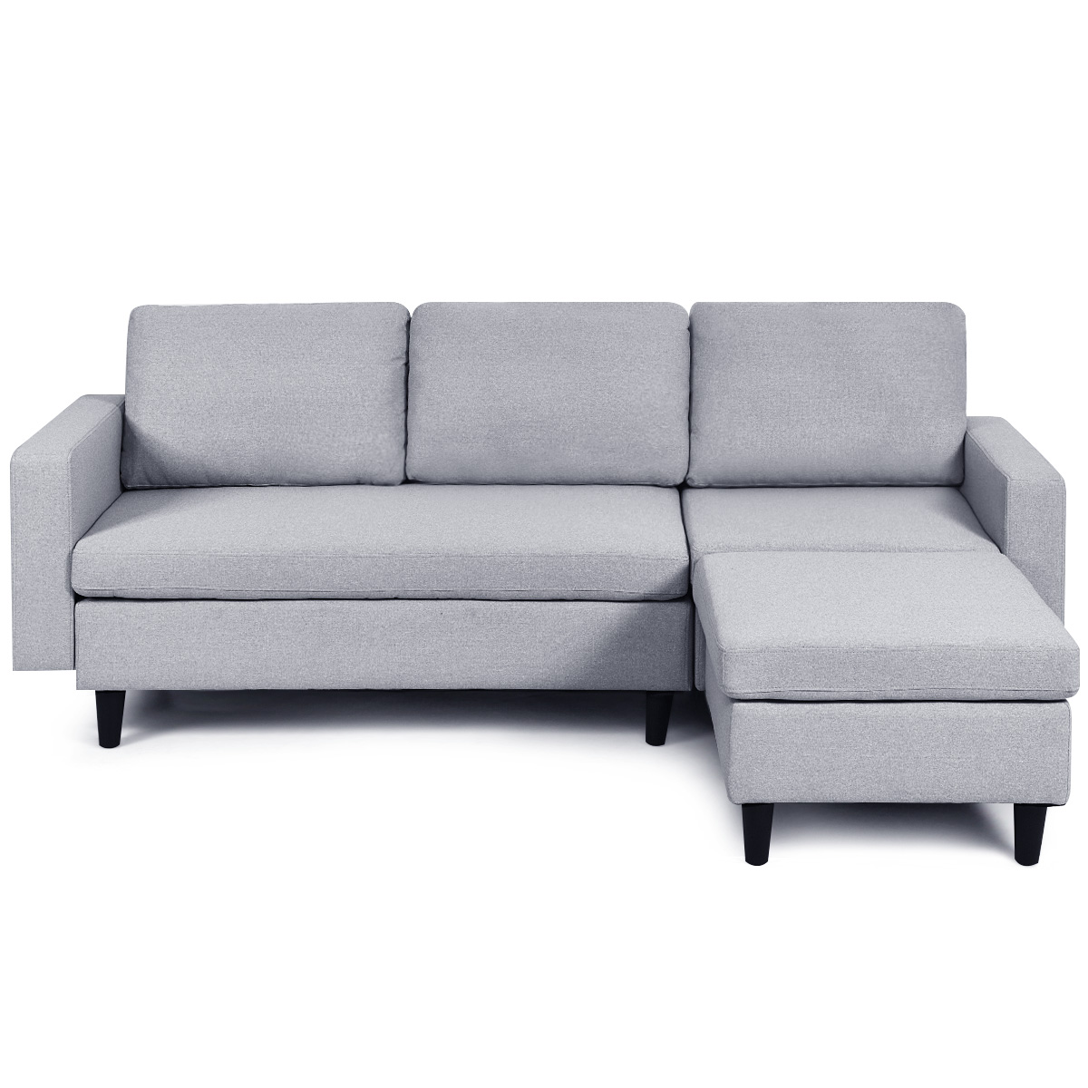 costway convertible sectional sofa couch l shaped couch massage back cushion gray walmart com