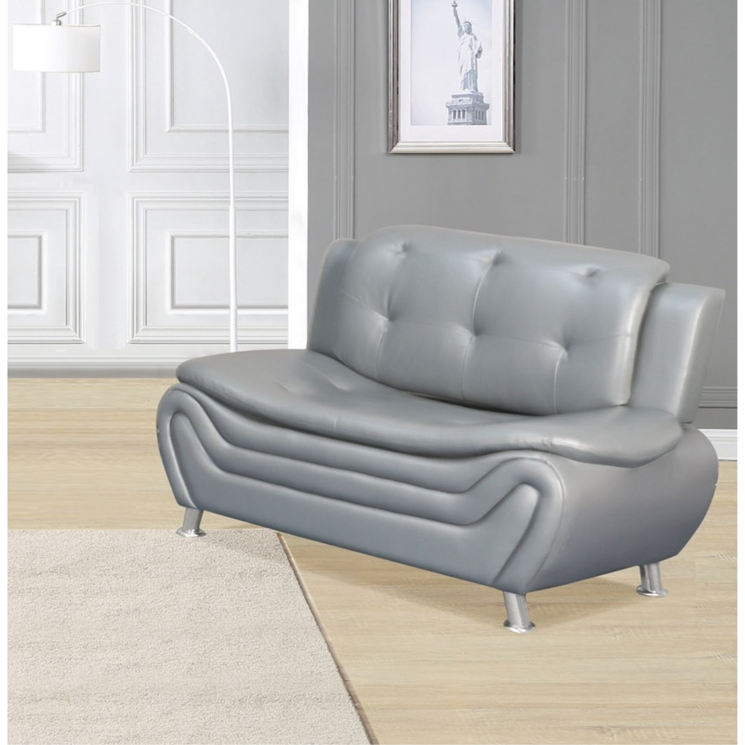 viscologic grandeur luxury pillow top tufted premium faux leather sofa couch for home office living room grey