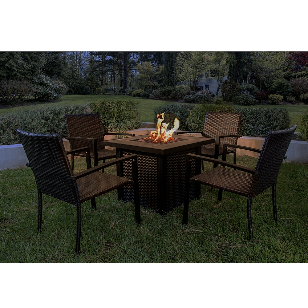 toyuson 30 inch 5 piece fire pit table with 4 chairs outdoor patio furniture sets with gas fire and cover 50 000 btu
