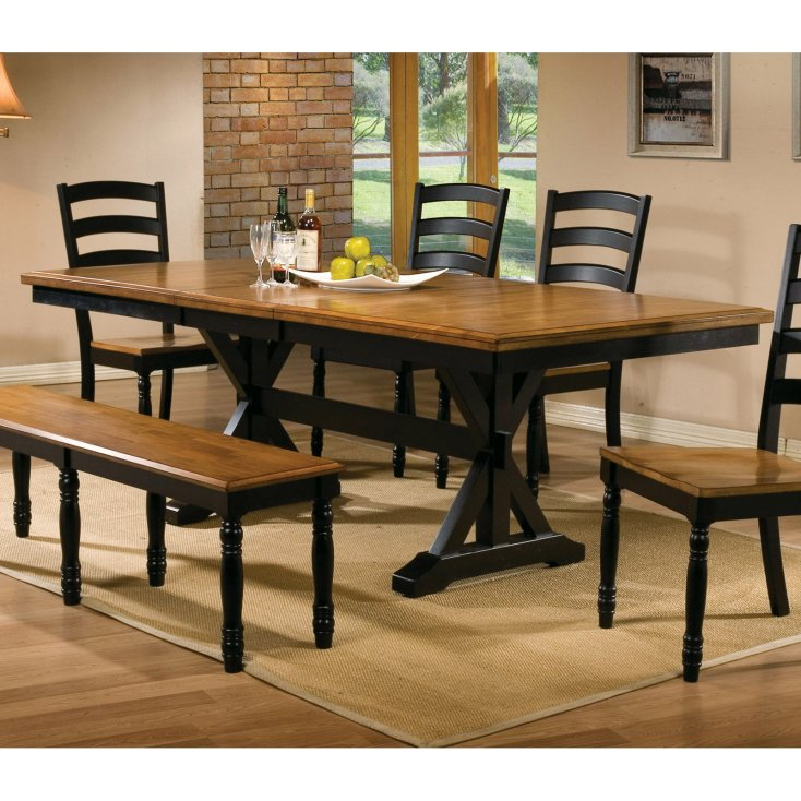 winners only quails run 84 in. trestle dining table with 18 in