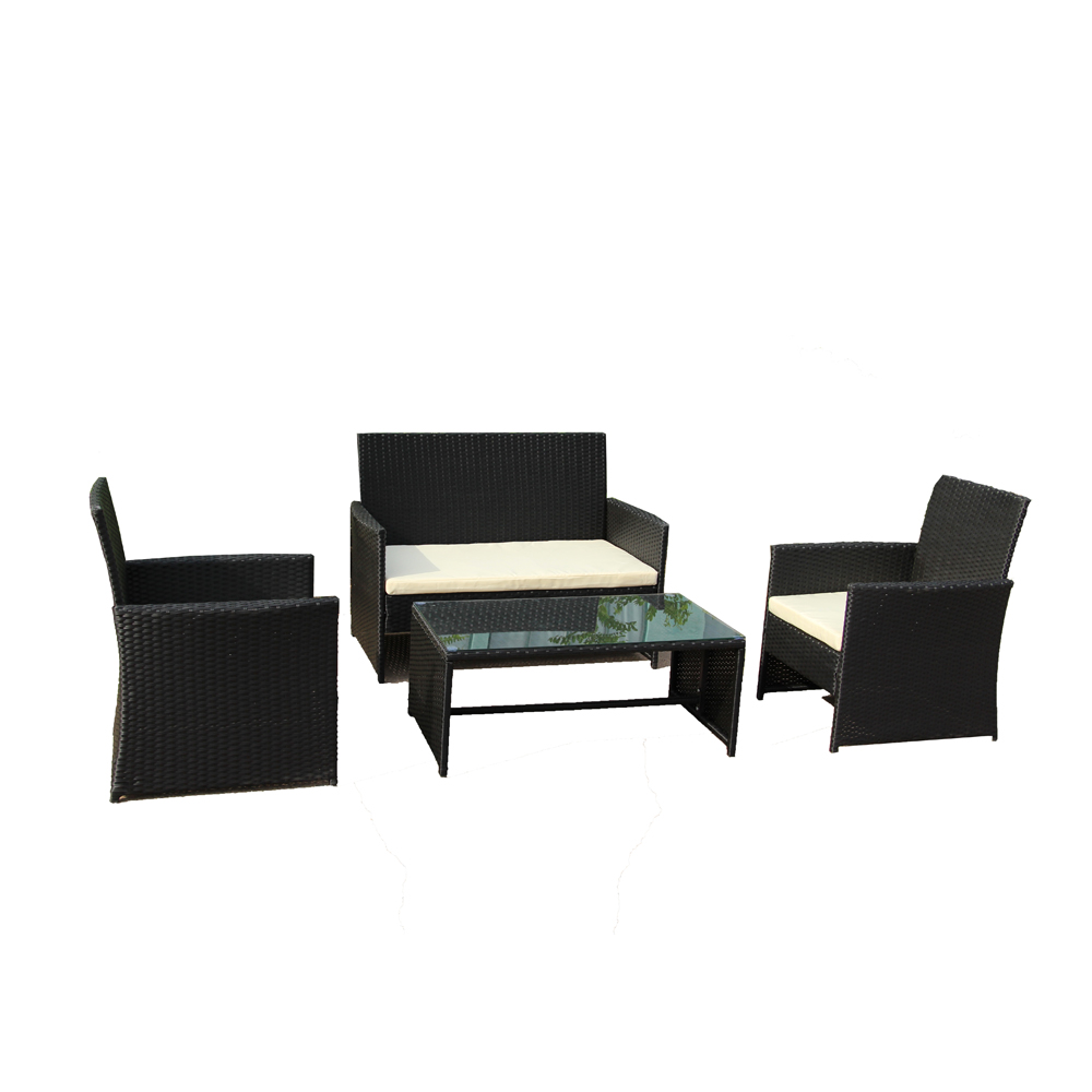 aleko rtcrm07blk indoor outdoor seattle rattan 4 piece patio furniture and coffee table set black color set with cream cushions walmart com