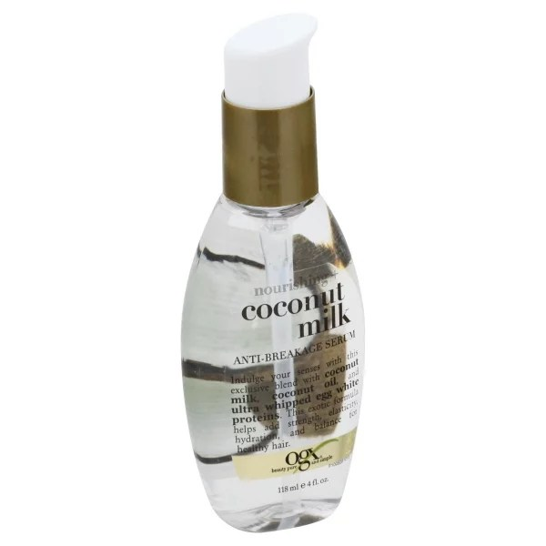 Ogx Nourishing Coconut Milk Anti Breakage Hair Serum For Strength Shine Leave In Hair Treatment With Coconut Oil Egg White Protein Paraben Sulfated Surfactant Free 4 Fl Oz Walmart Com