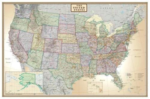 24x36 united states usa us executive wall map poster mural laminated
