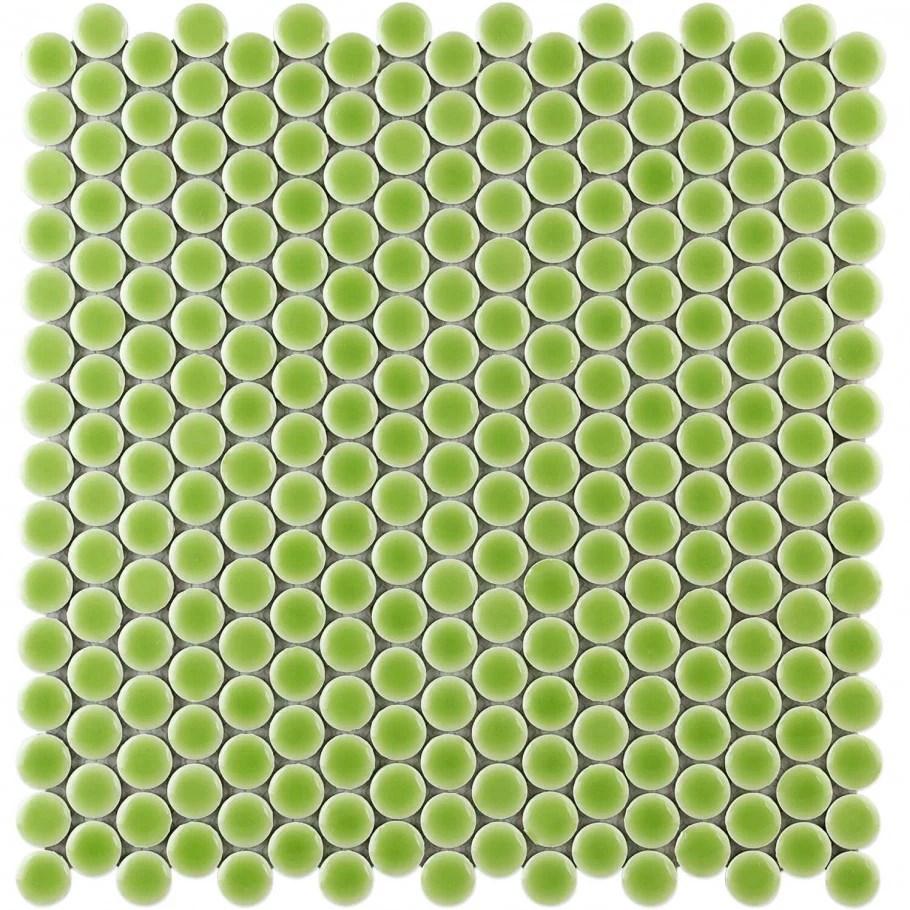 denarius penny round electric lime ceramic polished mosaic tile sample walmart com