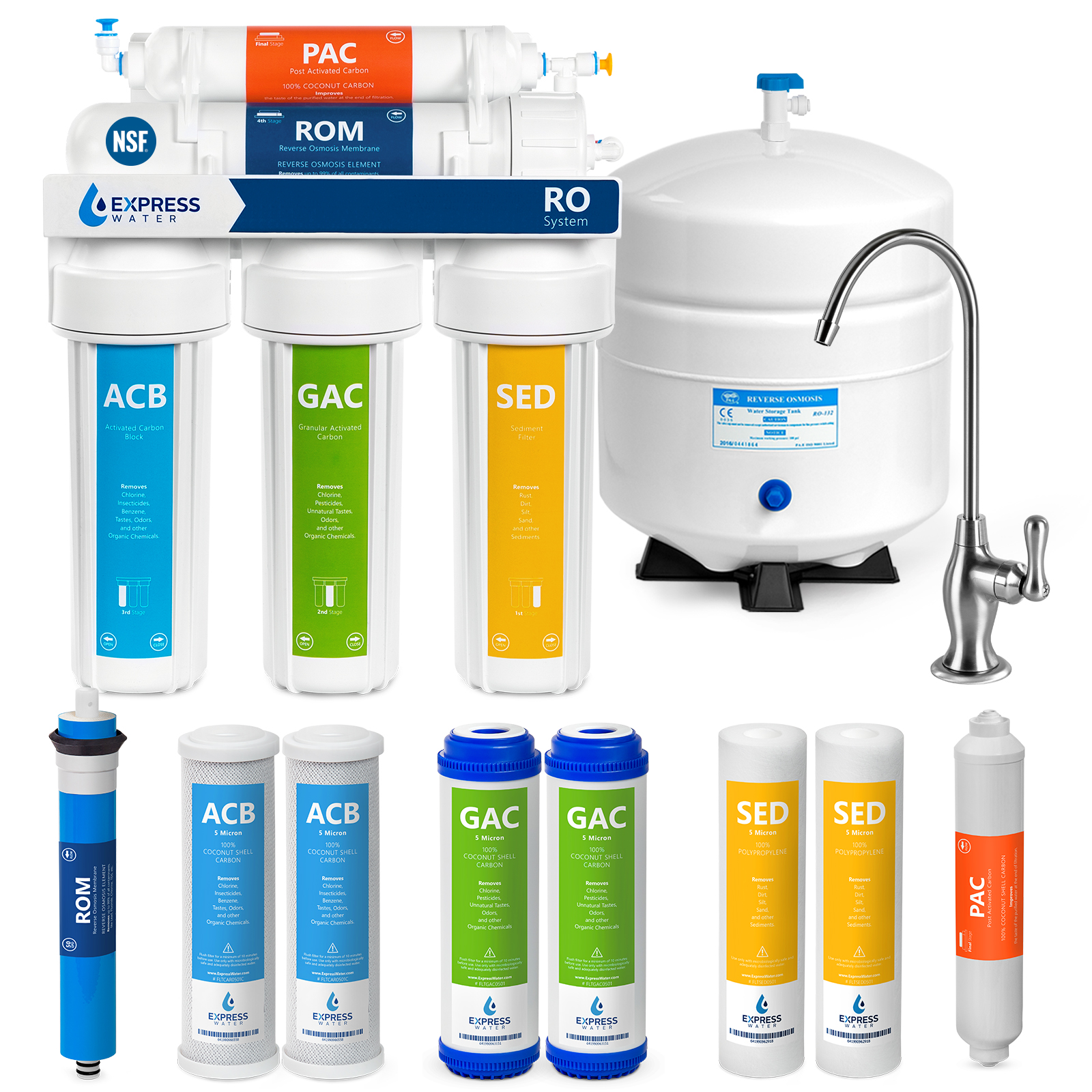 express water reverse osmosis water filtration system 5 stage ro water purifier with faucet and tank under sink water filter plus 4 replacement