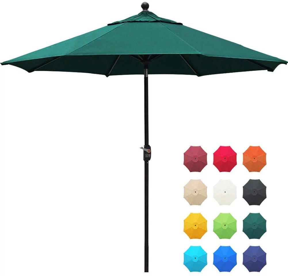 eliteshade sunbrella 9ft market umbrella patio outdoor table umbrella with ventilation and 5 years non fading guarantee sunbrella forest green