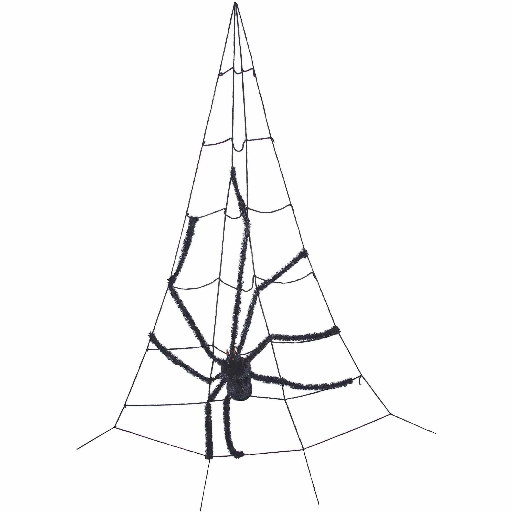 Corner Spider Web With Spider Halloween Prop