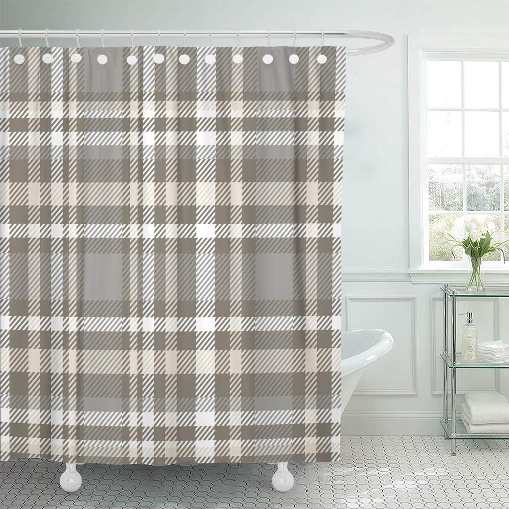 ksadk brown border plaid check pattern in grey taupe beige and white gray checker bathroom shower curtain 60x72 inch walmart com