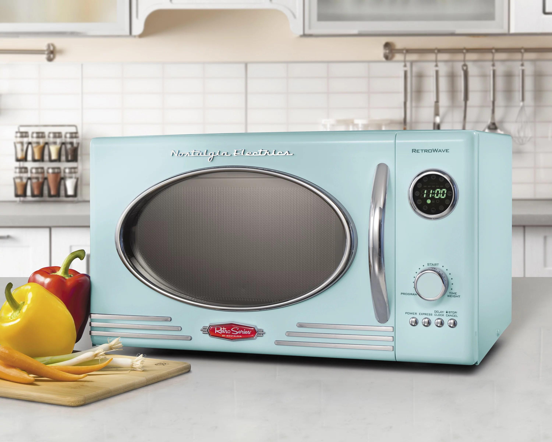 nostalgia 0 9 cu ft 800 watt countertop microwave oven aqua rmo4aq walmart com walmart com