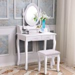 Costway Vanity Wood Makeup Dressing Table Set With Stool Mirror 4 Drawers Multiple Colors Walmart Com Walmart Com