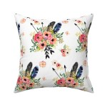 Boho Floral Flowers Arrows Throw Pillow Cover W Optional Insert By Roostery Walmart Com Walmart Com