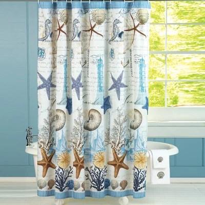 tropical seahorse seashells starfish coral beach coastal bathroom shower curtain walmart com