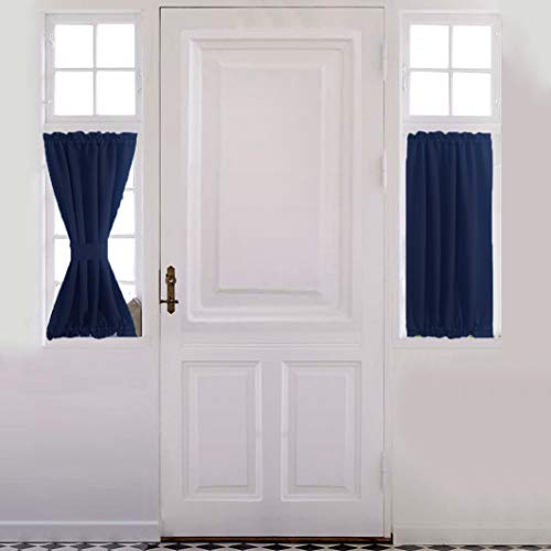 aquazolax front door curtain panel for privacy blackout drapery 25 x40 solid curtains for french glass door 1 panel navy blue