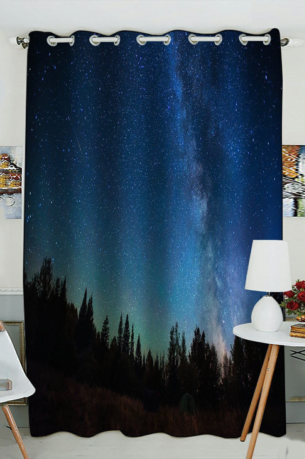 phfzk milky way celestial window curtain night sky forest tree window curtain blackout curtain for bedroom living room kitchen room 52x84 inches one