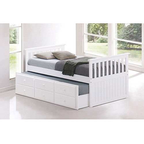 broyhill kids marco island twin captains bed with trundle and storage drawer white