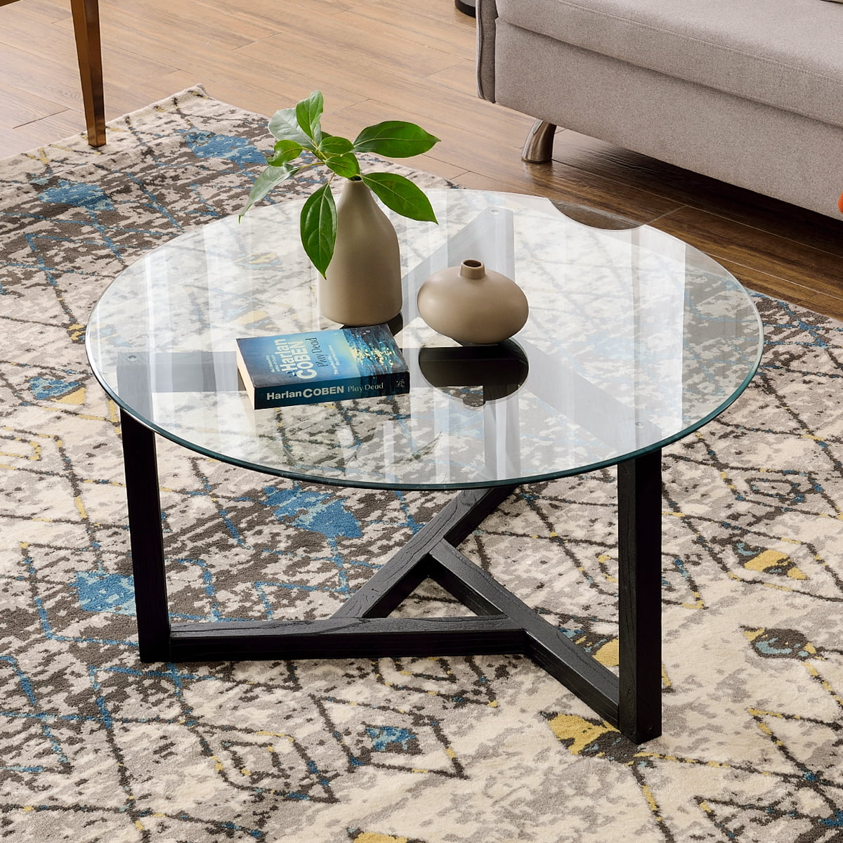 glass coffee table 35 4 round coffee table with sturdy wood base modern cocktail table with tempered glass top round center table sofa table for