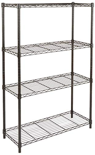 4 shelf adjustable heavy duty storage shelving unit 350 lbs loading capacity per shelf steel organizer wire rack black 36l x 14w x 54h