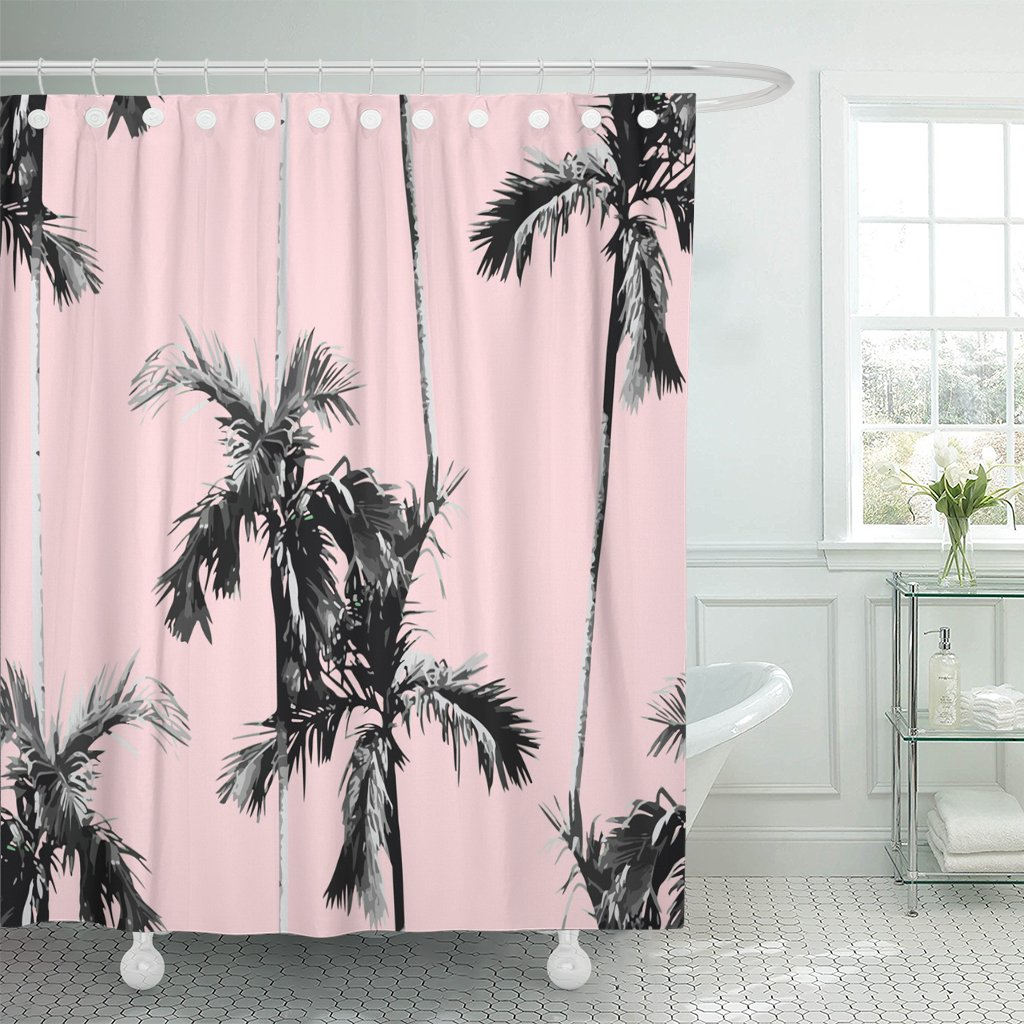 pknmt summer tropic banana palm tree exotic pink black shower curtain 60x72 inches