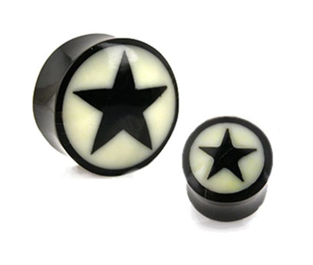 Pair Of Natural Buffalo Horn Saddle Plugs With Bone Star Inlaygauge Thicknessmm