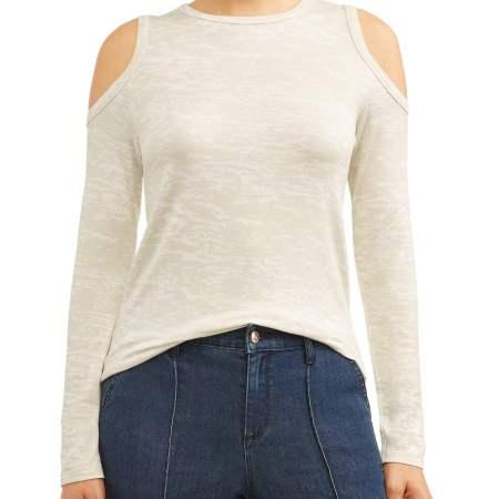 Sofia Jeans Cold-Shoulder Soft Terry Burnout Top Women's